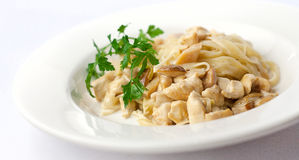 Fettuccine with porcini mushrooms Royalty Free Stock Images