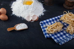 Fettuccine, pâtes italiennes Photo stock