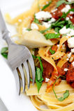 Fettuccine With Roasted Tomato And Basil Royalty Free Stock Photography
