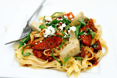 Fettuccine With Roasted Tomato And Basil Royalty Free Stock Images