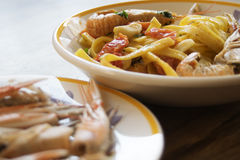 Fettuccine at the scampi Royalty Free Stock Photography