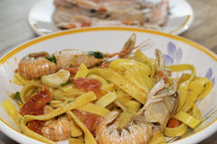 Fettuccine at the scampi Stock Photo