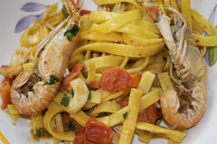 Fettuccine at the scampi Royalty Free Stock Photo