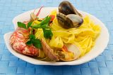 Fettuccine with seafood Royalty Free Stock Photography