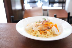 Fettuccine seafood Stock Photography