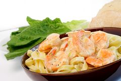 Fettuccine with shrimp Royalty Free Stock Photo