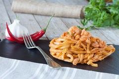 Fettuccine With Shrimp Cream And Brandy Stock Image