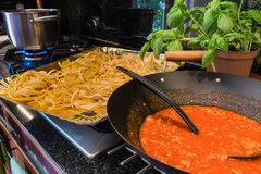 Fettuccine and souce. Fettuccine or tagliatelle ready to cook with sauce bolognese Stock Photography
