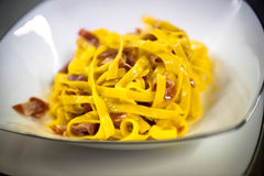 Fettuccine with speck Royalty Free Stock Photo