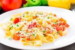 Fettuccine with tomato Royalty Free Stock Photo