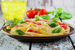 Fettuccine with tomatoes Royalty Free Stock Image