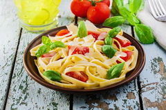 Fettuccine with tomatoes Royalty Free Stock Photography