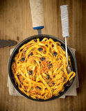 Fettuccini alla Puttanesca. Royalty Free Stock Photos