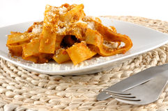 Fettuccini con il verro Fotografie Stock