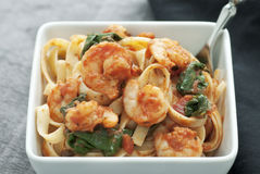 Fettuccini with Shrimp Stock Photography