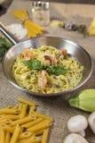 Fettuccini with shrimps Stock Photo