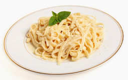Fettucine all'Afredo plate Stock Photography