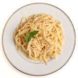 Fettucine all'Alfredo from above Royalty Free Stock Image