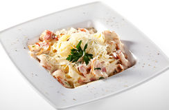 Fettucine Carbonara Stock Photography