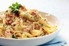 Fettucine Carbonara Imagem de Stock