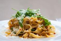 Fettucine pasta with sundried tomato Stock Photography