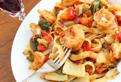 Fettucine with shrimp Royalty Free Stock Photography