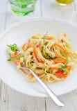 Fettucine with vegetables. Italian cuisine Royalty Free Stock Image