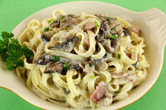 Fettucini Carbonara Royalty Free Stock Image