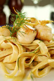 Fettucini With Scallops Royalty Free Stock Images