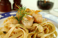 Fettucini With Scallpos Royalty Free Stock Images