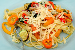Fettucini And Sweet Peppers Royalty Free Stock Photos