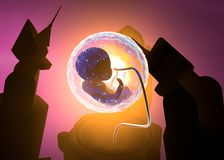 Fetus incubation experiment fiction. Experimentation on unborn children with mechanical robots Royalty Free Stock Image
