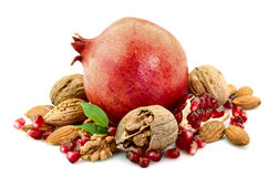 Fetus of a pomegranate and nuts Stock Photo