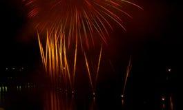 Feu d'artifice à la célébration de vacances de ville Images libres de droits