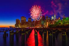 Feu d'artifice à Manhattan, New York City Image stock