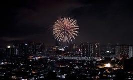 Feu d'artifice éclatant au-dessus de la ville foncée dans la nuit images stock