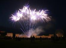 Feu d'artifice au château d'Orangerie à Kassel, allemand Photographie stock libre de droits