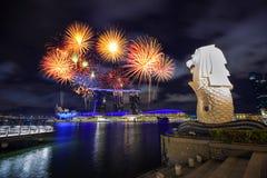 Feu d'artifice au-dessus de parc de Merlion dans la ville de Singapour image libre de droits