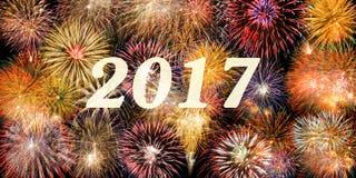 Feu d'artifice aux nouvelles années 2017 Images libres de droits