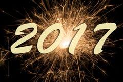 Feu d'artifice aux nouvelles années 2017 Image stock