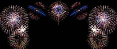 Feu d'artifice de célébration de nouvelle année, l'espace de copie avec le feu d'artifice coloré Image stock
