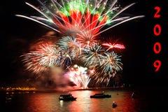 feu d'artifice de célébration neuf sur l'an d'expert en logiciel images libres de droits