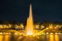 Feu d'artifice en parc avec le jardin et la fontaine Photos libres de droits