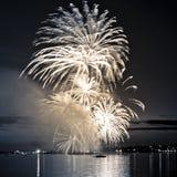 Feu d'artifice lumineux de célébration en ciel Image stock