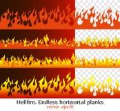 Feu d'enfer, éléments rouges de flamme pour la frontière sans fin illustration de vecteur
