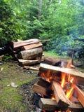 Feu de camp avec du bois Photos libres de droits