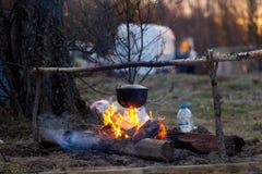 Feu de camp avec un pot à cuire Images stock