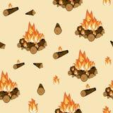 Feu de camp, bois brûlant et modèle sans couture de flamme Fond abstrait campant illustration stock