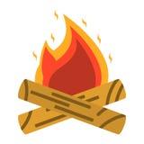 Feu de camp, icône de feu Équipement de tourisme Web e de voyage de bateau Image libre de droits