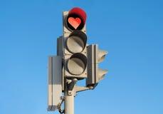 Feu de signalisation amoureux rouge Photographie stock